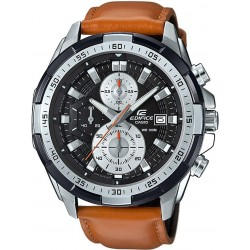 Casio Edifice Men's Black Dial Leather Band Watch - EFR-539L-1BVUDF