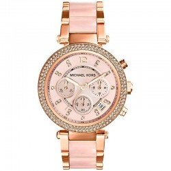 MK Michael Kors Parker Rose Gold-Tone Stainless Steel And Blush Acetate Watch MK5896 code w0168