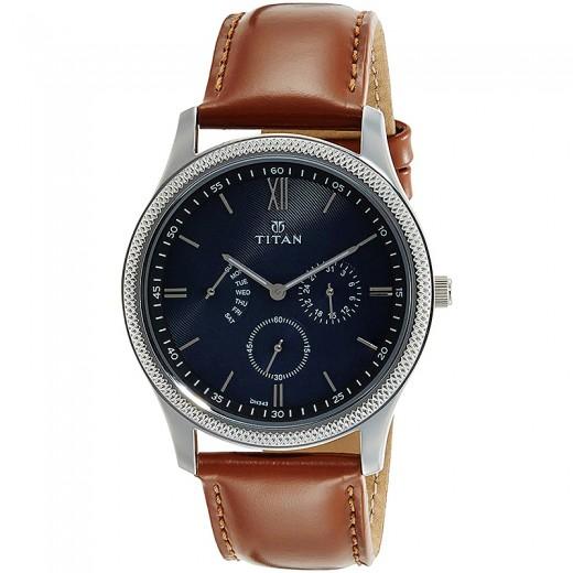 Titan Classique Retrogrades Analog Blue Dial Men's Watch - 1768SL03